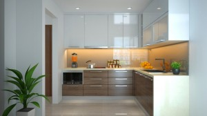 Mẫu tủ bếp gỗ công nghiệp MDF hiện đại