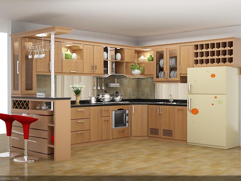 Mẫu tủ bếp gỗ sồi Nga cho chung cư cao cấp