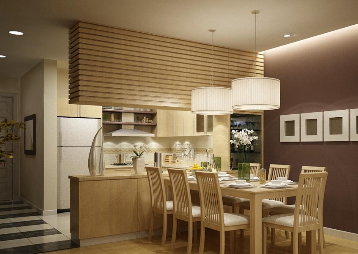 Mẫu tủ bếp gỗ sồi Nga cho chung cư cao cấp dáng chữ U