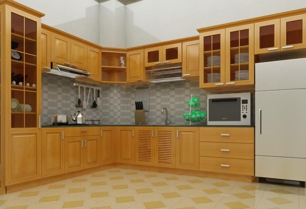Mẫu tủ bếp gỗ sồi Nga đẹp cho nhà lô phố