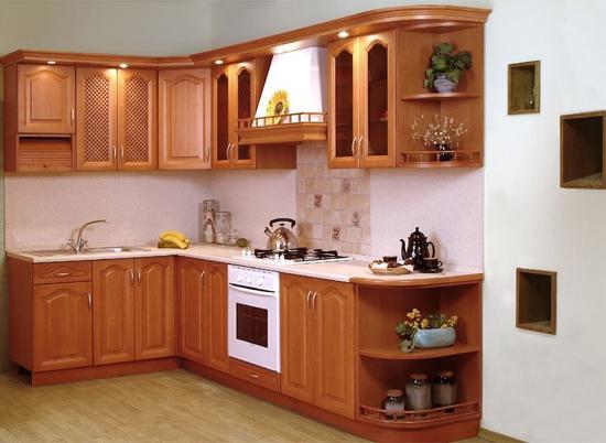 mẫu tủ bếp gỗ xoan đào đẹp cho nhà bếp nhỏ