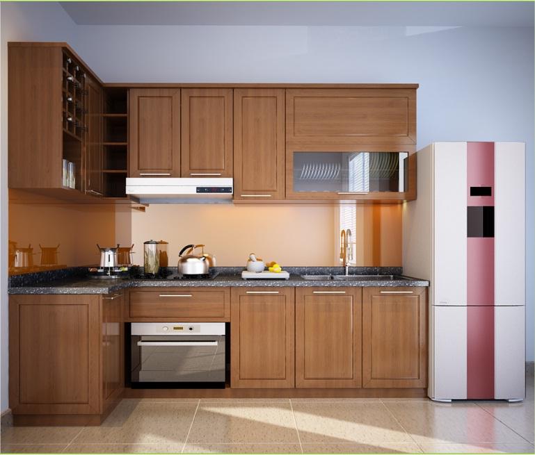 Mẫu tủ bếp gỗ xoan đào kiểu chữ L
