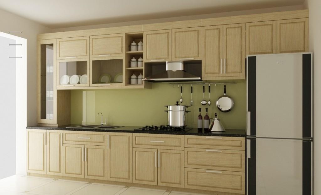 Thiết kế tủ bếp gỗ sồi Nga đẹp cho nhà có diện tích bếp nhỏ