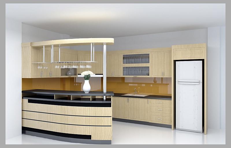 Tủ bếp gỗ sồi Nga được ưa thích nhất kiểu chữ i cho nhà nhỏ