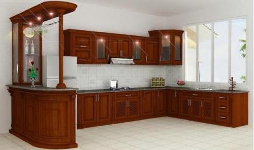 tủ bếp gỗ xoan đào đẹp cho nhà chung cư