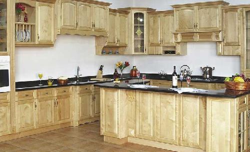 Tủ bếp chữ G đẹp bằng gỗ sồi Nga