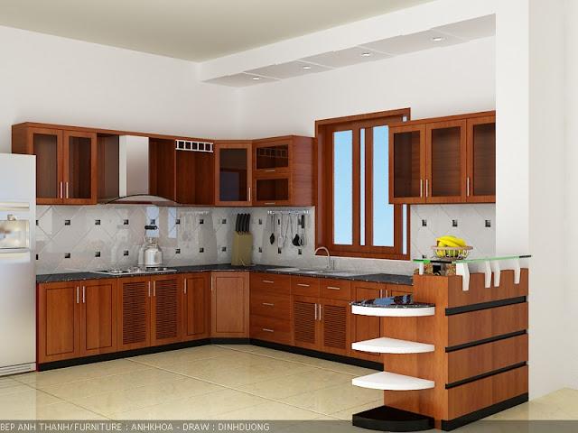 Tủ bếp gỗ xoan đào cao cấp
