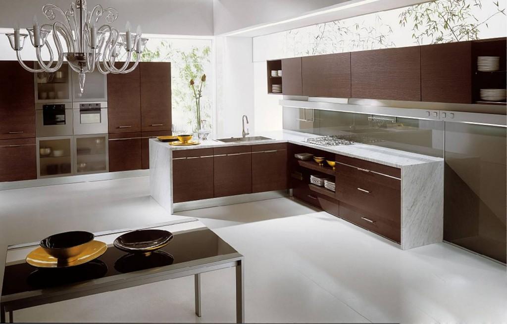 Tủ bếp gỗ công nghiệp ép Laminate kiểu dáng hiện đại