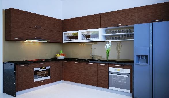 Tủ bếp gỗ công nghiệp Laminate đẹp cho nhà nhỏ