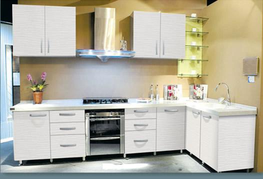 Tủ bếp gỗ công nghiệp Laminate hiện đại màu trắng