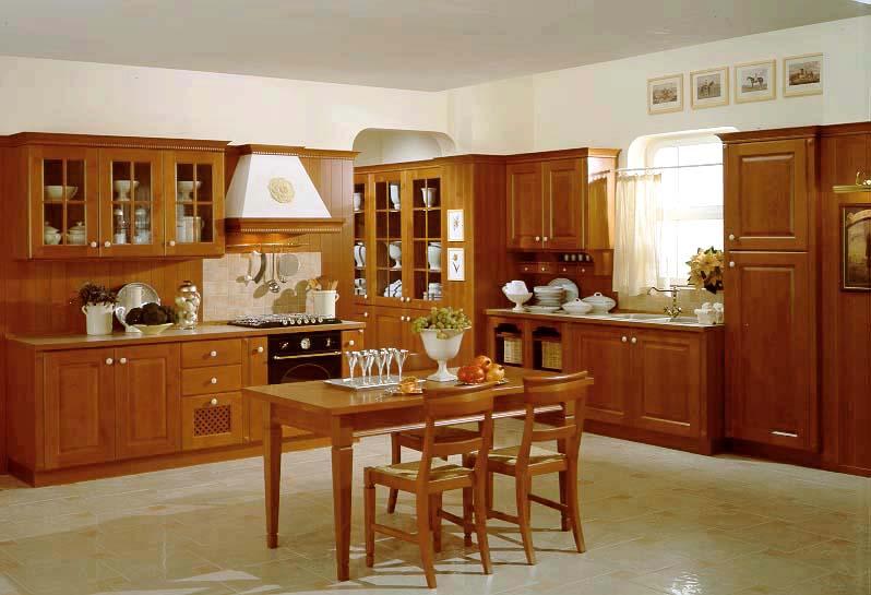 Mẫu tủ bếp gỗ sồi Nga chữ L sang trọng