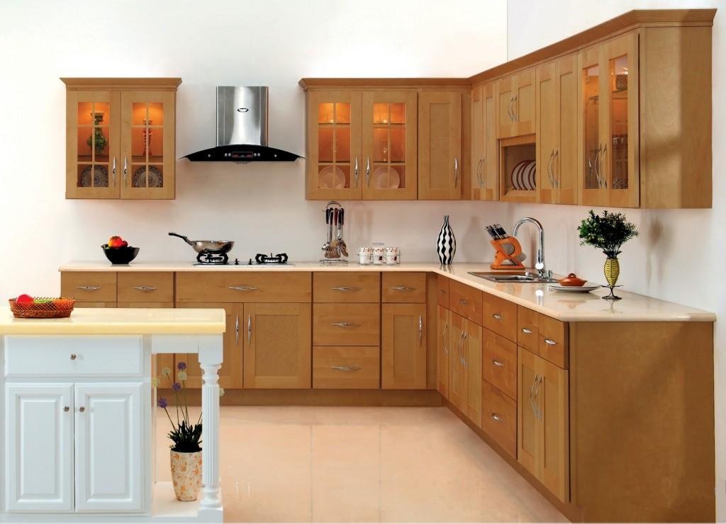 Mẫu tủ bếp gỗ xoan đào chữ L cho nhà chung cư