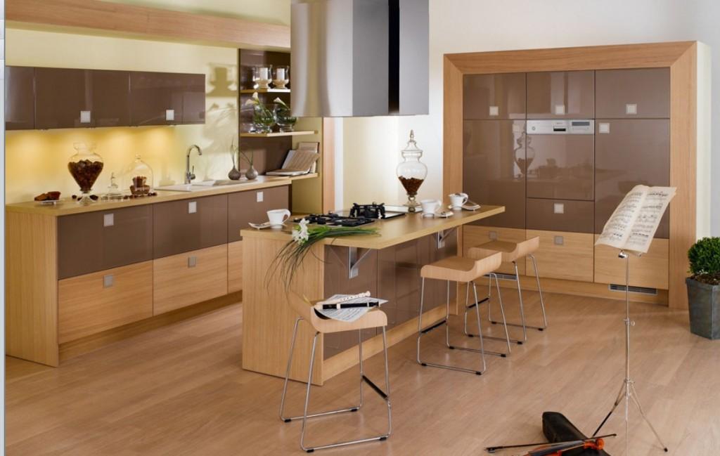 Tủ bếp gỗ công nghiệp Laminate đẹp cho nhà biệt thự