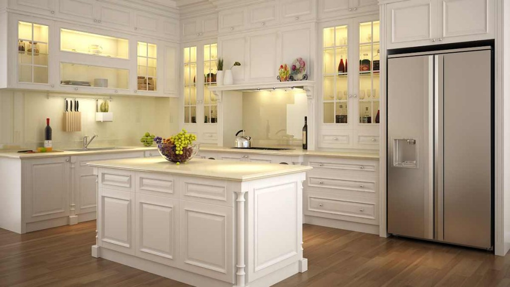 Tủ bếp gỗ sồi Nga màu trắng đẹp hiện đại