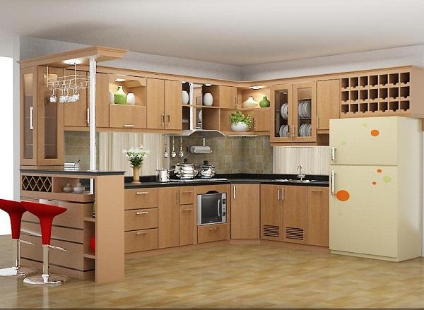tủ bếp gỗ sồi nga chữ u đẹp