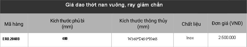 Giá dao thớt nan vuông, ray giảm chấn ERO.2040B