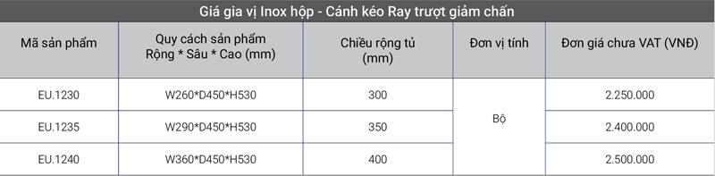 Giá gia vị inox hộp – Cánh kéo Ray trượt giảm chấn EuroGold