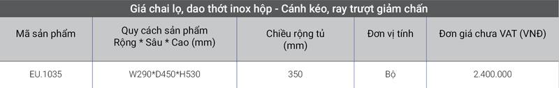 Giá inox hộp – Cánh kéo, ray trượt giảm chấn EU.1035