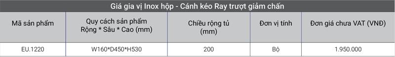 Giá inox hộp – Cánh kéo Ray trượt giảm chấn EuroGold