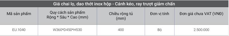 Giá chai lọ, dao thớt inox hộp – Cánh kéo, ray trượt giảm chấn EU.1040