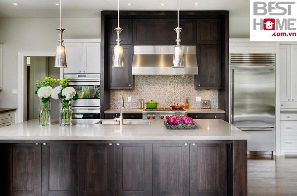 Tủ bếp gỗ óc chó cao cấp dành cho nhà chung cư