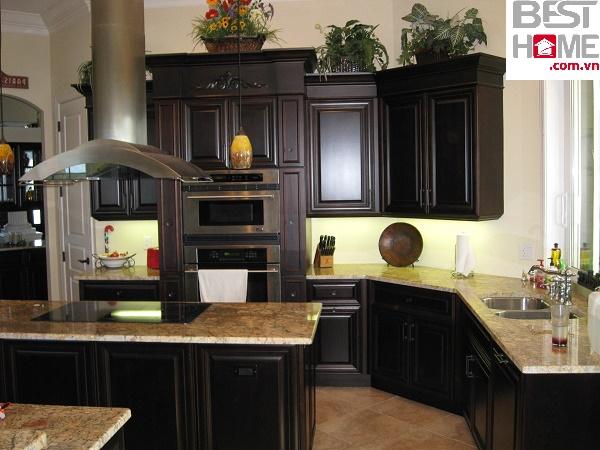 Tủ bếp gỗ óc chó cao cấp dành cho nhà chung cư, tủ bếp gỗ óc chó