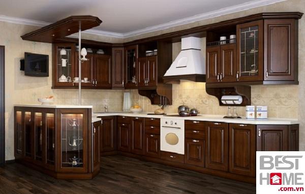 Tủ bếp gỗ óc chó đẹp dành cho nhà lô phố