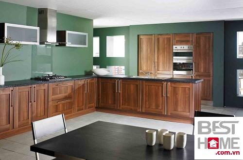 Tủ bếp gỗ óc chó đẹp hình chữ L, tủ bếp chữ L