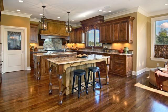 tủ bếp gỗ óc chó mang phong cách cổ điển