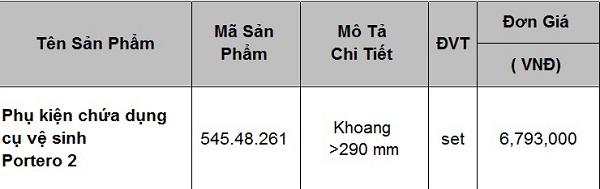 Báo giá phụ kiện chứa dụng cụ vệ sinh 545.48.261 Hafele