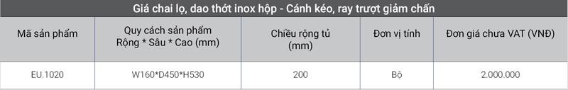 Giá inox hộp - Cánh kéo, ray trượt giảm chấn EU.1020 cao cấp