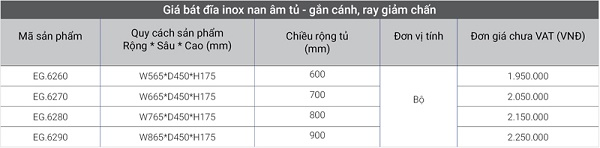 Giá inox nan âm tủ - gắn cánh, ray giảm chấn EG.6260 tiện lợi