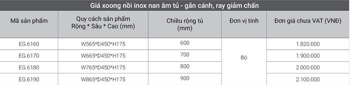 Giá inox nan âm tủ – gắn cánh, ray giảm chấn EG.6160 giá tốt