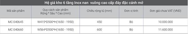 Hệ giá kho 6 tầng inox nan vuông cao cấp đáy đặc cánh mở EuroGold
