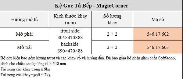 Hệ góc sole MagicCorner phụ kiện cho góc tủ bếp Hafele