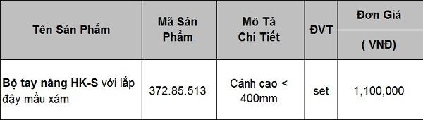 Bộ tay nâng Blum HK-S với lắp đậy màu xám 372.85.513