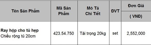 Giá ray hộp Blum dành cho tủ bếp hẹp 423.54.750
