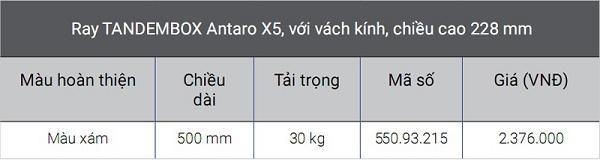 Giá ray hộp Blum Tandembox X5