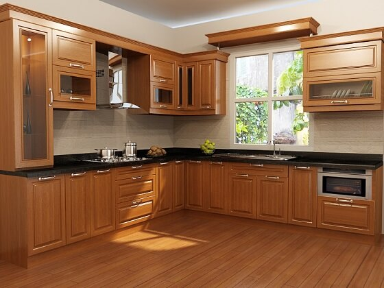 Các loại gỗ tự nhiên thường dùng để làm tủ bếp