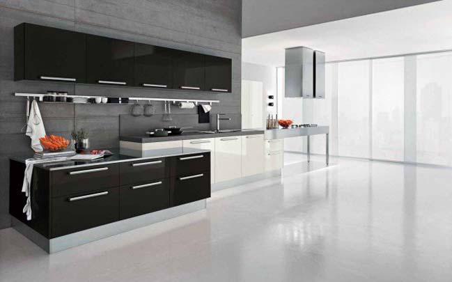 cách trang trí bếp bằng 2 màu trắng đen