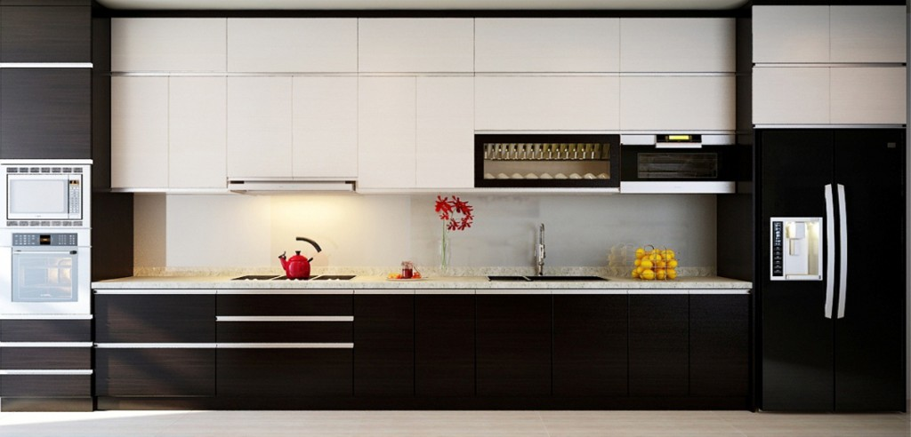 cách trang trí bếp với 2 màu trắng đen