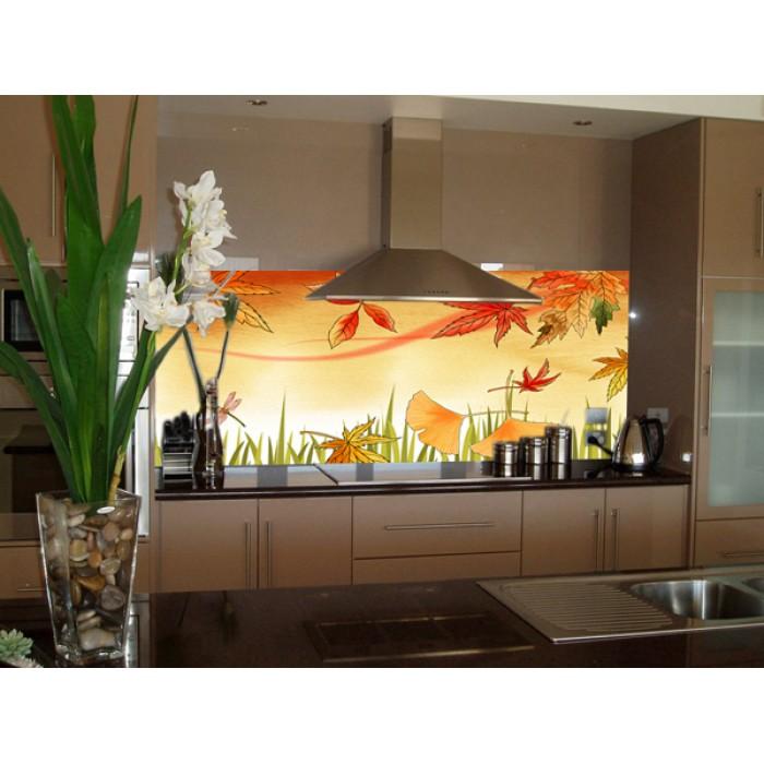 Mẫu tường kính họa tiết ấn tượng cho gian bếp
