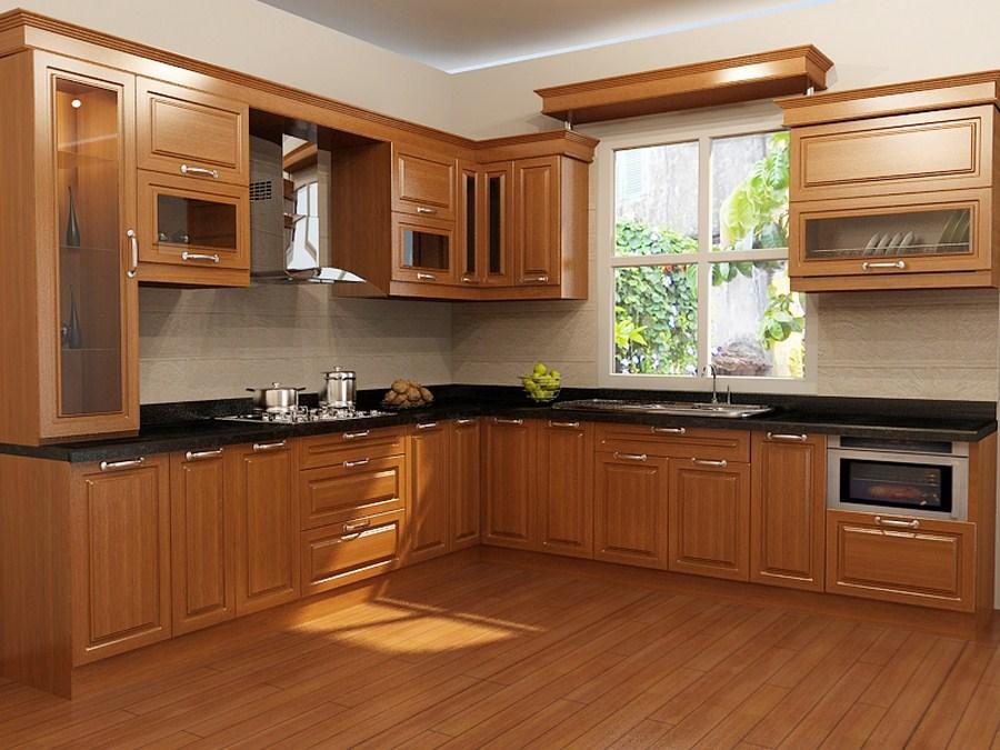 trang trí bếp bằng màu nâu sang trọng của gỗ