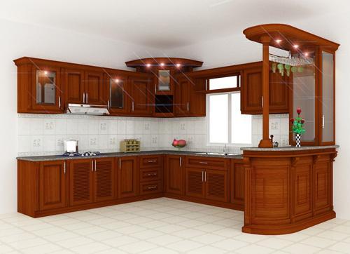 716 9 Cùng nhìn qua mẫu tủ bếp gỗ giáng hương đẹp cho nhà bếp nhỏ