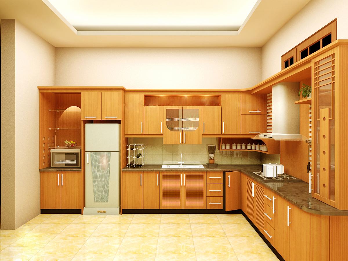 Tủ bếp gỗ Veneer kiểu chữ L sang trọng