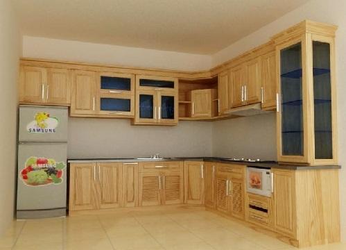 Tủ bếp gỗ sồi Nga đẹp cho nhà chung cư