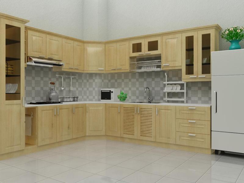 Mẫu tủ bếp gỗ sồi Nga đẹp kiêu chữ L