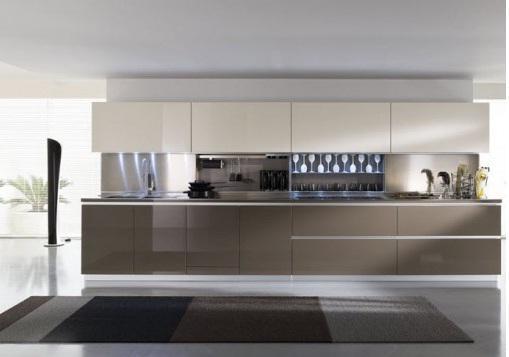 Mẫu tủ bếp gỗ Veneer mang phong cách hiện đại