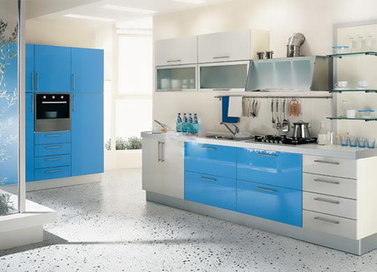 Màu xanh - trắng tạo phong cách trẻ trung, hiện đại cho không gian bếp