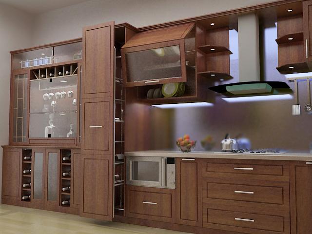 Tủ bếp gỗ giáng hương thiết kế hiện đại